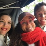Flo from Progressive (Stephanie Courtney) on set with Strommen