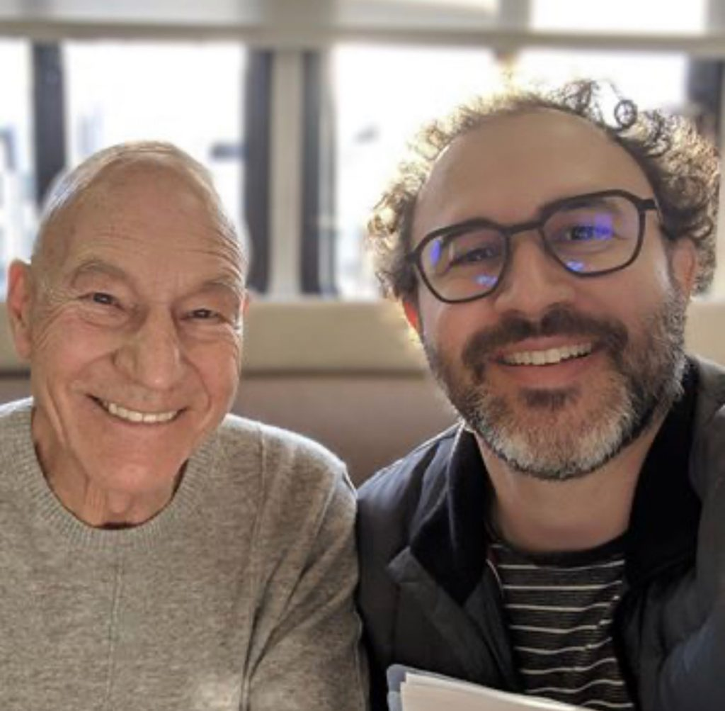 Sir Patrick Stewart on the set of Picard with Strommen's Benoit Fiset